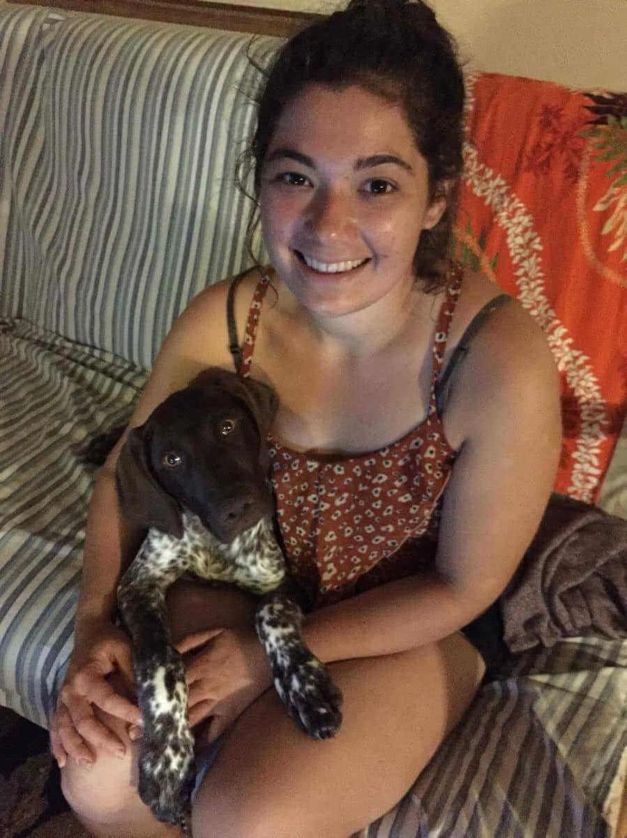 Makalani with her first Hawaiian puppy