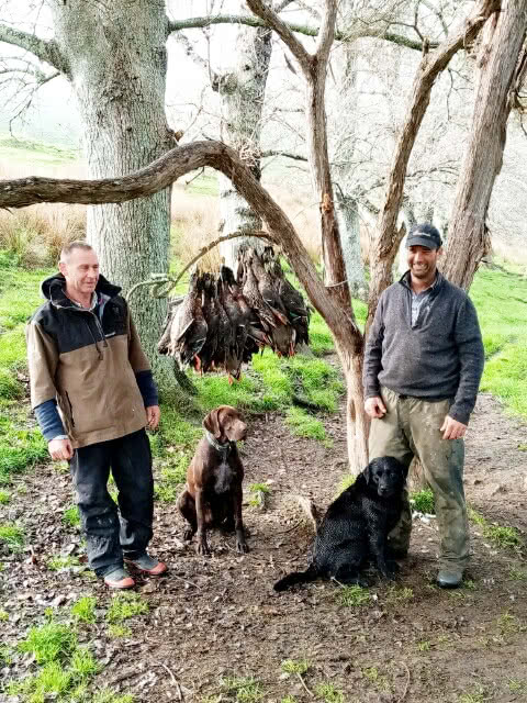 Roger Burnett (L) with Edge - duck hunting, Gisborne, NZ